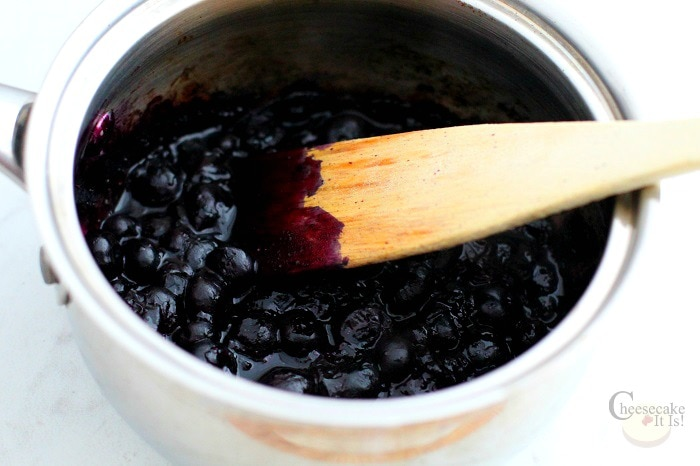 Blueberry topping cooking in pot
