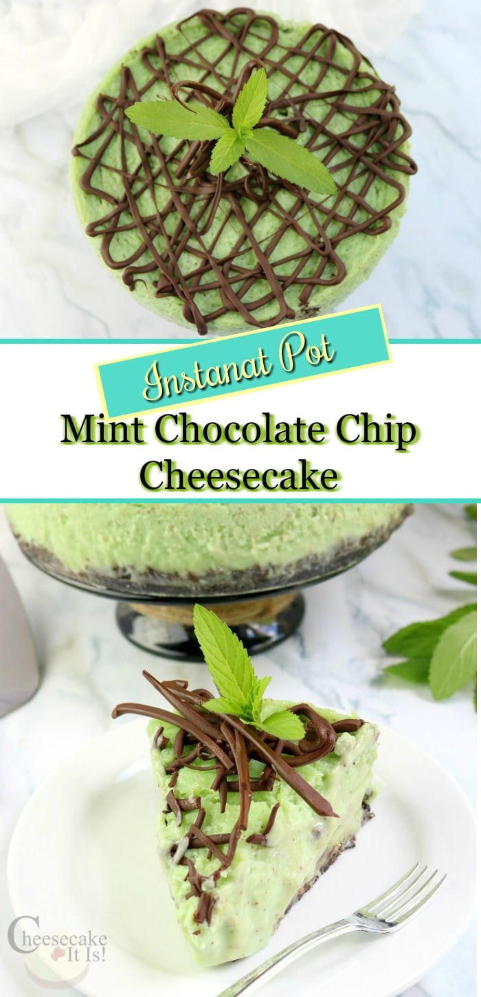 Slice of mint chocolate chip cheesecake at the bottom with fresh mint. Whole cheesecake at the top with text overlay in the middle.
