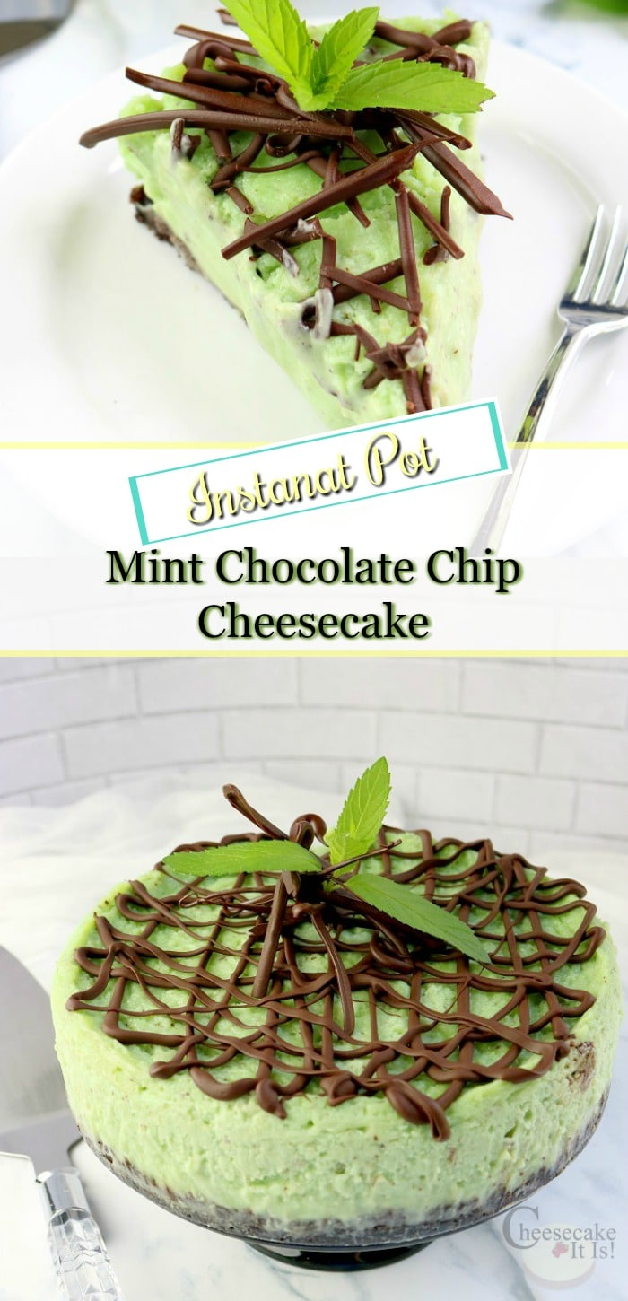 Slice of mint chocolate chip cheesecake at the top whole cheesecake at the bottom with text overlay in the middle.