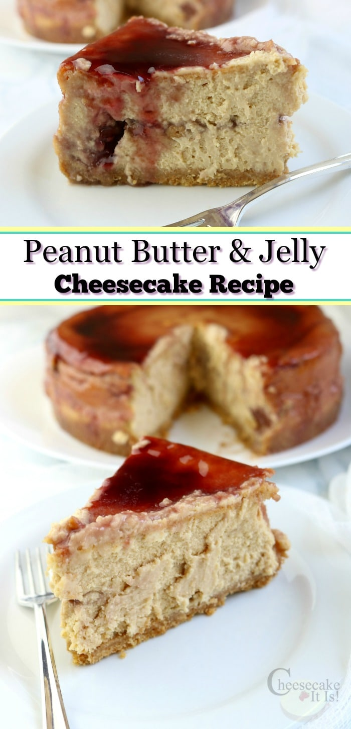 PB&J Cheesecake slice at the top and bottom with text overlay in the middle.