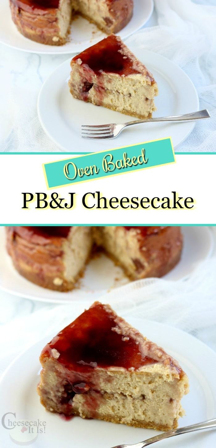 Two slices of PB&J cheesecake with text overlay.