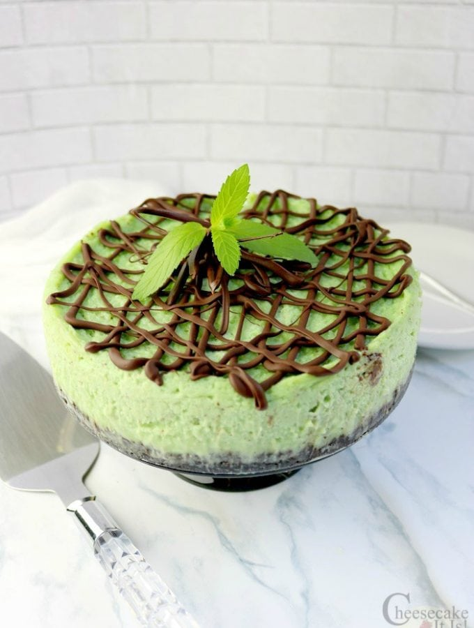 Mint chocolate chip cheesecake garnished with chocolate drizzle and fresh mint on marble counter.