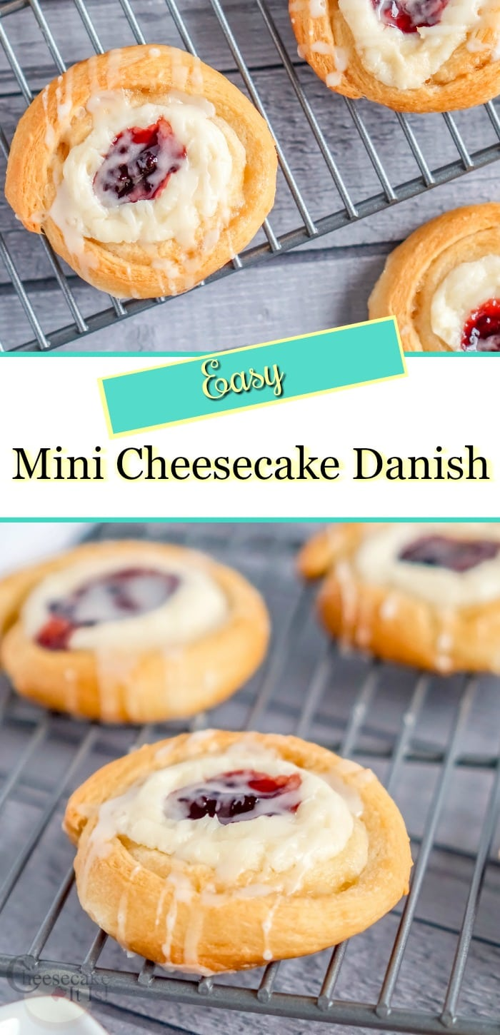 Mini Cheesecake Danish on cooling racks with text overlay in middle.