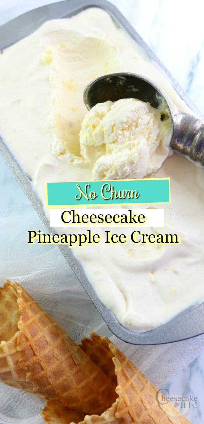Pan of cheesecake ice cream with a scoop in it. Text overlay on top.