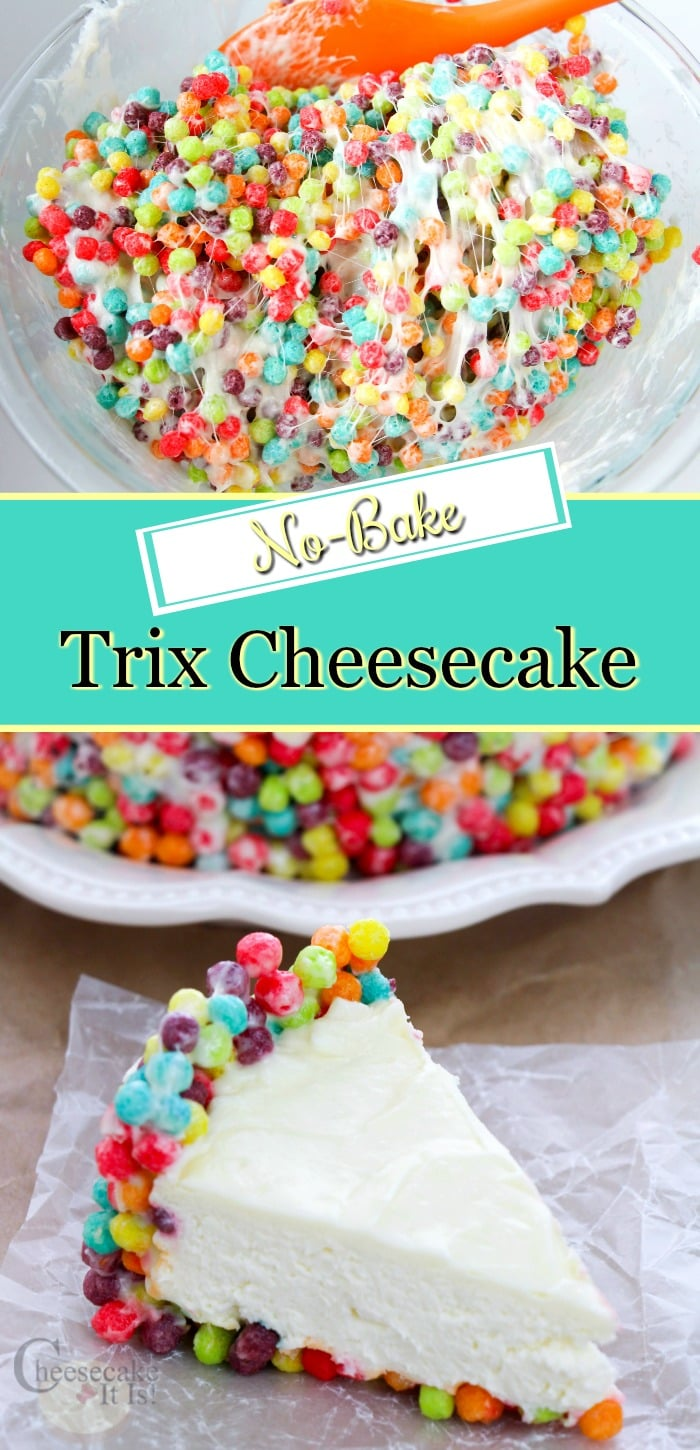 Bowl of trix being mixed with marshmallows at the top. Text overlay in the middle and a slice of trix cheesecake at the bottom.