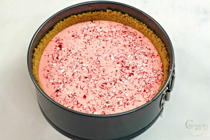Peppermint cheesecake batter on crust in pan