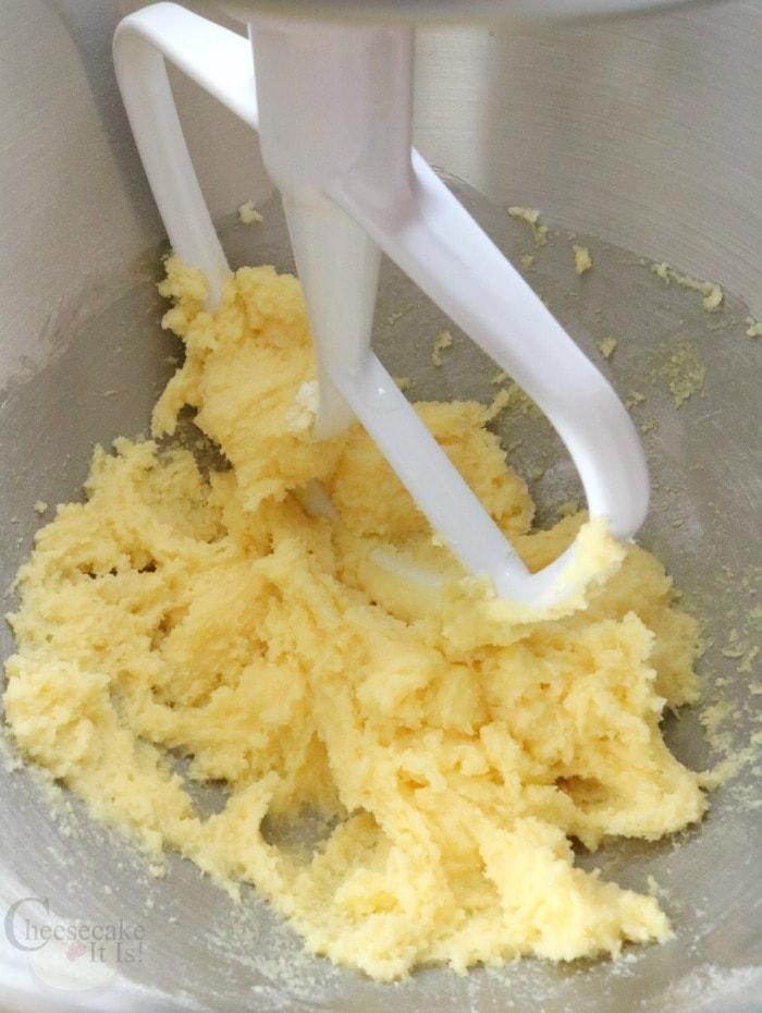 Beater mixing cheesecake truffle mix