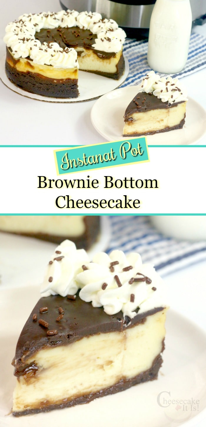 Whole cheesecake at top slice at bottom. Text overlay in the middle.
