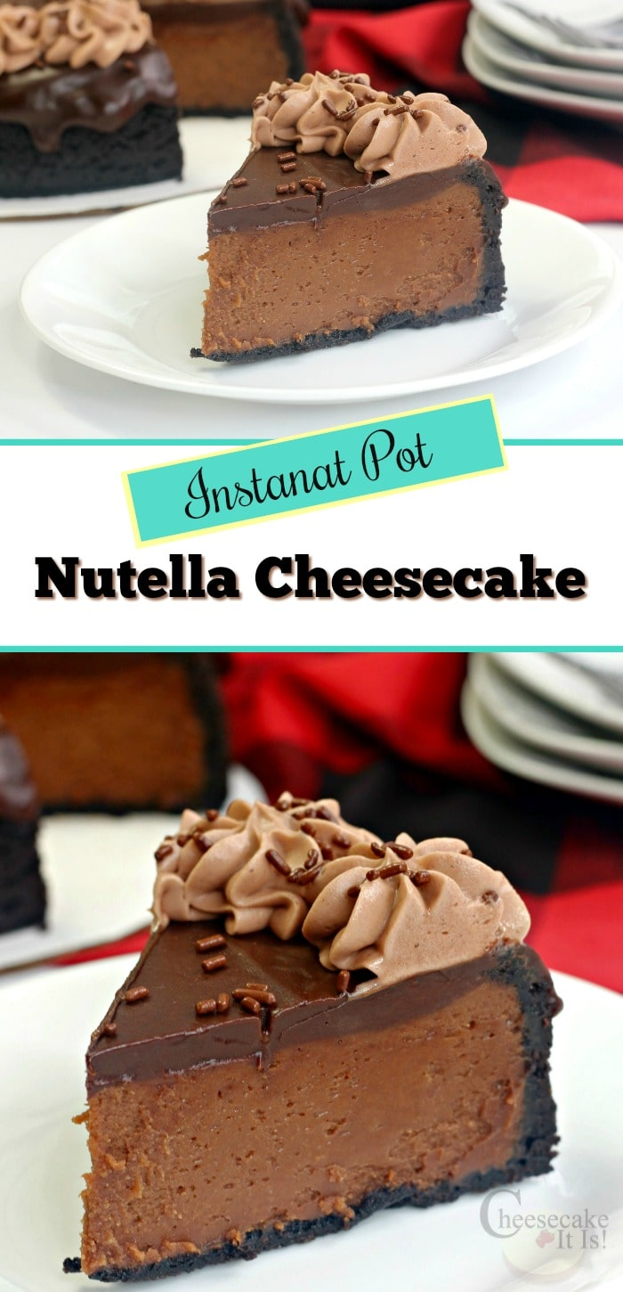 Slice of Nutella cheesecake top and bottom with text overlay in the middle.