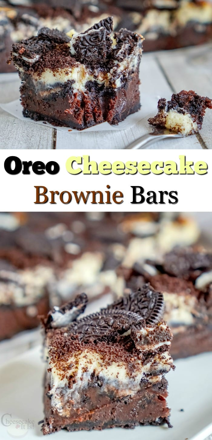 Bar at top and bottom. Text overlay in the middle that says Oreo Cheesecake Brownie Bars