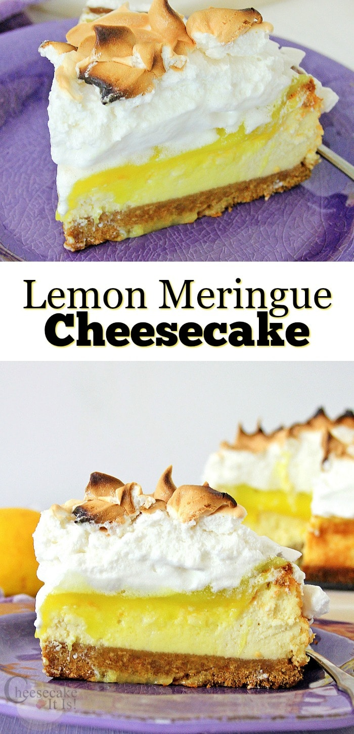 Slice of lemon meringue cheesecake at top and bottom on purple plate with text overly in the middle.
