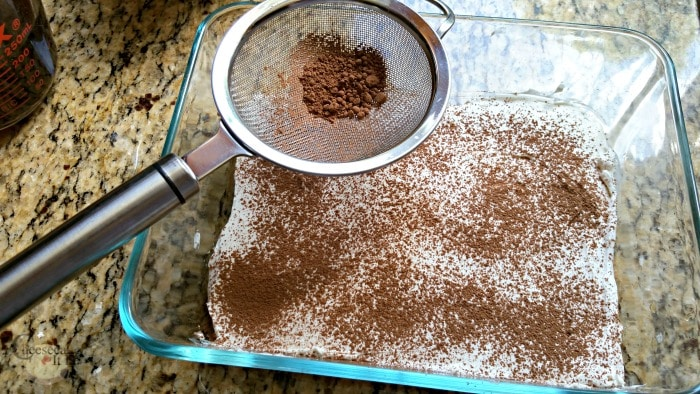 Sifter adding cocoa powder to top of cheesecake mixture