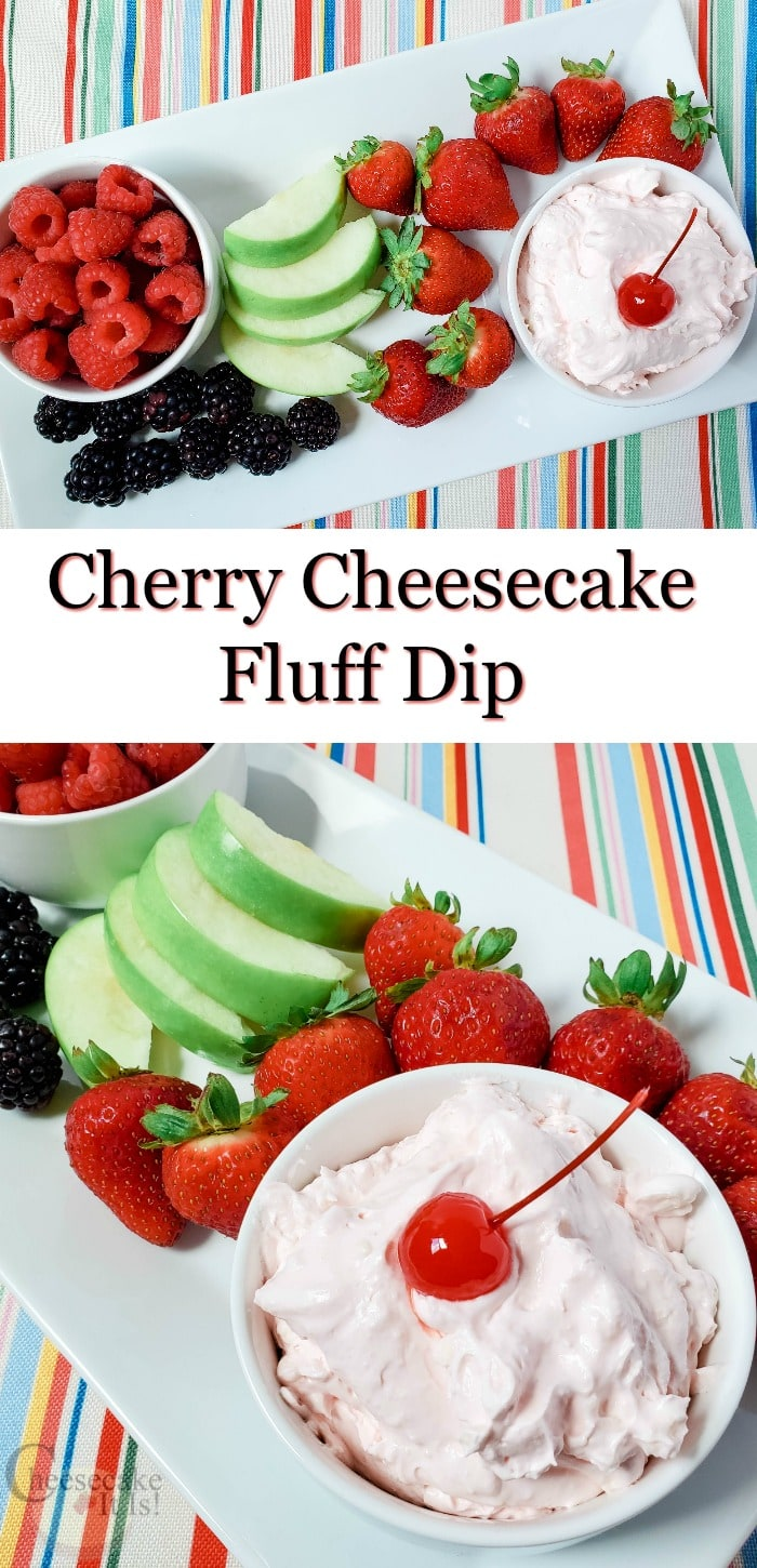 Plate with fresh fruit and cherry cheesecake fluff dip