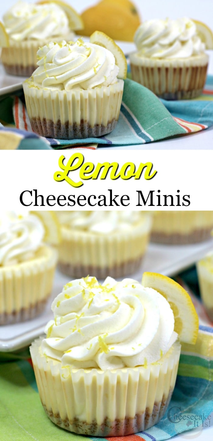 Lemon cheesecake minis at the top and bottom with a text overlay in the middle.