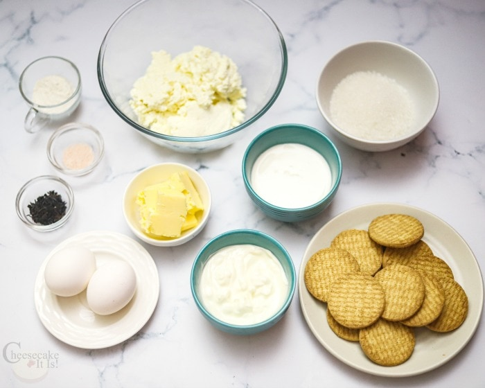 Items needed to make cheesecake