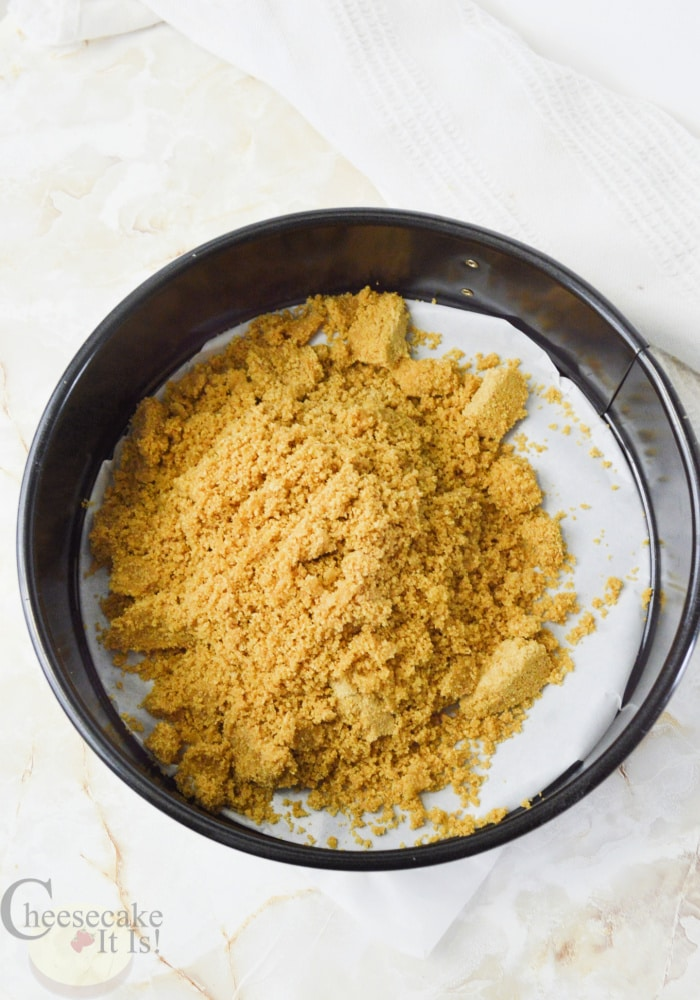 pan with crumb mixture dumped in